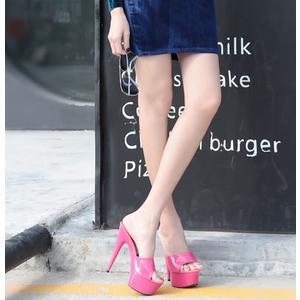 15cm性感超高跟鞋细跟纯色漆皮凉拖防水台女士PU拖鞋大码   -1421310014