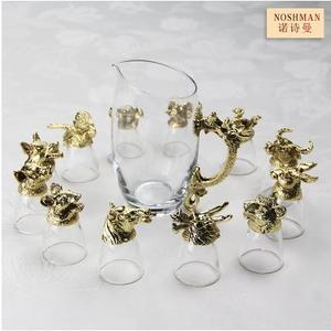高檔12十二生肖獸首白酒杯套裝水晶玻璃白酒具套裝創意禮品商務(古金色12生肖酒杯 分酒器)