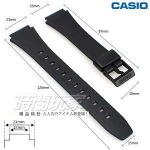 18mm 23mm錶帶 CASIO卡西歐 橡膠錶帶 黑色 錶帶 DB-36-1AV適用 DB-36-9AV適用 DB-36黑18
