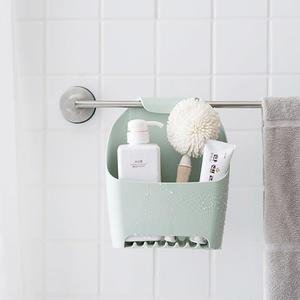 浴室掛式收納盒 可瀝水 免打孔 廁所 置物架 衛生間 毛巾掛籃 沐浴乳 洗面乳 【A50】♚MY COLOR♚