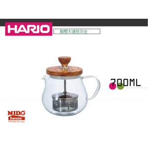 日本HARIO TEO-70-OV 橄欖木濾壓茶壺 700 ML
