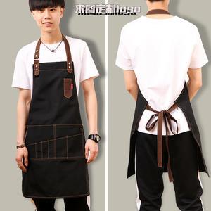 牛仔帆布圍裙 咖啡店師畫畫純棉廚房男女韓版時尚工作服訂製LOGO店名