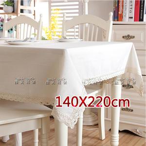棉麻桌巾-亞麻白【蕾絲花邊】140X220cm|素色桌布 地中海風格 浪漫傢飾 餐桌布 書桌布[微笑城堡]