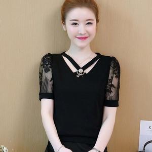 夏裝新款雪紡衫女裝上衣網紗蕾絲內搭薄款打底衫大碼短袖T恤 Korea時尚記