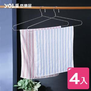 【YOLE悠樂居】不鏽鋼實心浴巾架(4入)#1225007 特大衣架 浴巾衣架