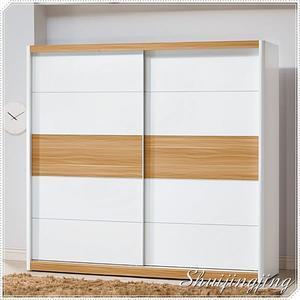 【水晶晶家具/傢俱首選】BL9119-9 寶格麗7*7呎木紋白雙拉門衣櫃