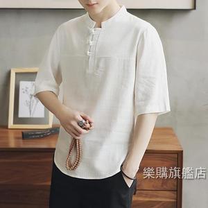 唐裝中國風盤扣棉麻短袖T恤男大尺碼寬鬆復古冬季唐裝半袖亞麻上衣男M-5XL4色