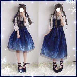日系軟妹繁星之城夢幻少女lolita漸變色JSK吊帶連身裙 小禮服洋裝「輕時光」