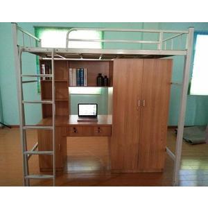 高架床上床下桌學生公寓床組合床上下鐵床員工宿舍帶書桌帶櫃子高低鐵床DF 全館免運