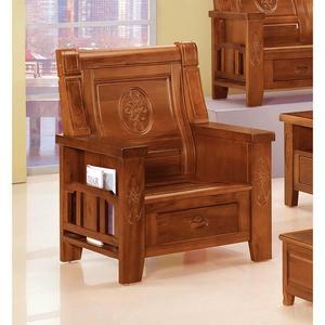 【森可家居】樟木全實木中式復古單人椅 8SB131-8 單人沙發 可收納