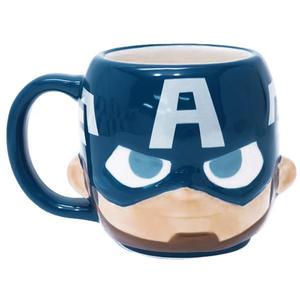 復仇者聯盟美國隊長馬克杯 立體面孔把手陶瓷馬克杯270ml/杯緣子馬克杯/陶瓷杯 [喜愛屋]