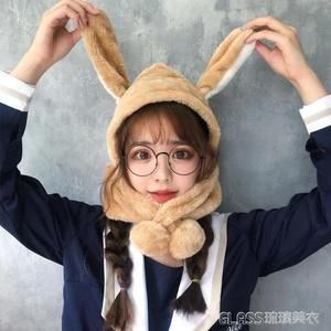 抖音兔子耳朵帽子女秋冬季兔耳朵帽甜美可愛圍巾一體韓版   琉璃美衣