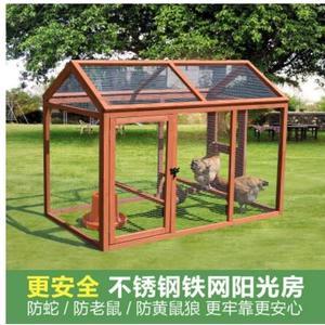 L-實木製雞籠子跑籠鴨籠鴿子兔籠網框室內外貓狗籠雞舍窩房包郵防腐