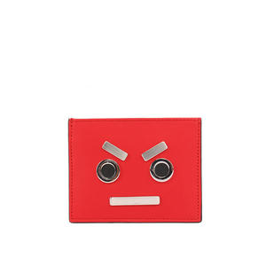 【FENDI】表情圖案 牛皮+不銹鋼 信用卡夾/名片夾(紅色) 7M0234 SL9 F051U