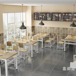 餐桌餐桌快餐桌椅組合簡約小吃店餐桌椅飯店餐廳食堂桌椅4小戶型家用WY