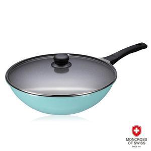 【瑞士MONCROSS】湛藍鈦石不沾鍋具組-炒鍋2件組-32cm(附蓋)
