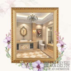 訂製 歐式實木粘貼浴室鏡子 化妝鏡梳妝洗手間廁所衛生間鏡子 貼墻壁帶框