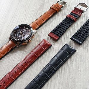 【300米防水 海奕施 HIRSCH】複合式橡膠錶帶 Paul L 皮革壓紋 焦糖棕/紅棕/黑色 附工具 (OMEGA錶帶)