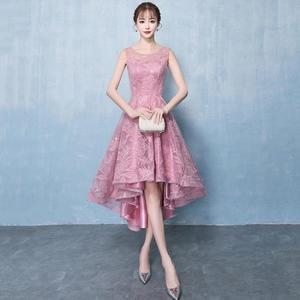 禮服洋裝 宴會晚禮服優雅前短后長伴娘禮服女粉色短款小禮服連身裙 迪澳安娜