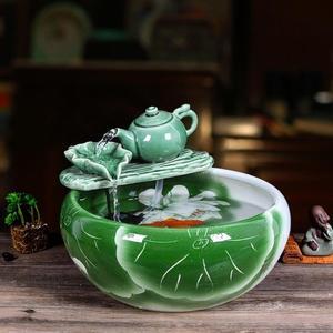 魚缸 陶瓷魚缸客廳噴泉桌面流水魚缸 家用小型金魚缸養魚盆