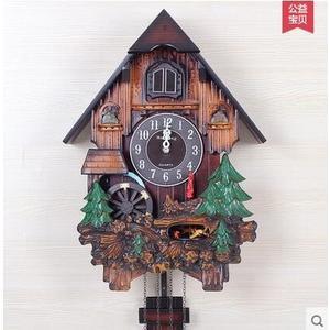 海騰光控音樂報時布穀鳥鐘咕咕鐘錶歐式時尚創意客廳田園掛鐘(小鹿款)