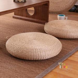 坐墊 草編蒲團坐墊加厚家用茶道藤編榻榻米打坐禪修墊地板矮坐墩子T