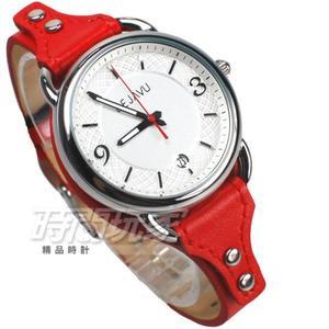 DEJAVU 個性派 獨立自主 數字時刻 日期顯示窗 皮革防水腕錶 女錶 小款 DK-5021L紅