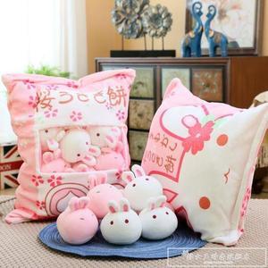 日本櫻花一大袋小兔子餅毛絨玩具創意零食抱枕ins網紅少女心玩偶CY『韓女王』