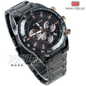 MINI FOCUS 個性賽車錶 三眼多功能 計時碼錶 日期視窗 防水手錶 學生錶 男錶 MF0187黑