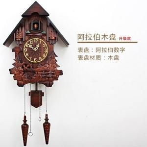歐式布谷鳥掛鐘智能音樂報時田園實木雕刻兒童創意客廳鐘表咕咕鐘