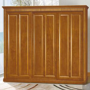 《凱耀家居》楠檜柚木色8X7尺實木衣櫥 110-338-1