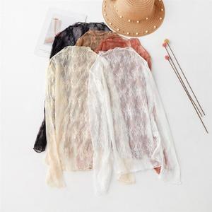 【免運】蕾絲打底衫女時尚超仙新品新款洋氣上衣性感鏤空網紗內搭短袖紗衣