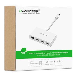 [哈GAME族]免運費 可刷卡 綠聯 40382 Type-C 轉 網路卡 +3孔 USB3.0 轉換器 USB-C TO 網路卡 + 3PORT USB
