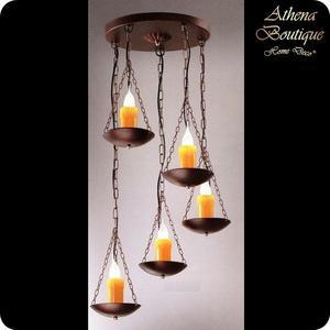 南洋風仿舊臘燭五頭吊燈-寬50公分-E14-40Wx5(LED另計)【雅典娜家飾】A707943