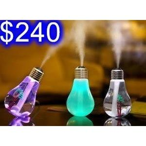 燈泡造型加濕器 七彩LED夜燈 噴霧補水保濕 USB迷你家用桌面加濕器