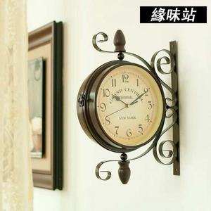 復古雙面掛鐘 歐式鄉村田園 鐵藝裝飾鐘【緣味站】YW-3411