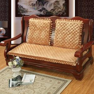 實木沙發墊海綿坐墊加厚毛絨帶靠背防滑連體長椅墊紅木質沙發冬季 都市韓衣