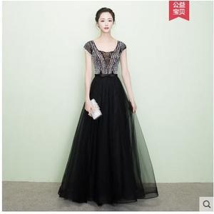 小鄧子黑色晚禮服2017新款性感透視顯瘦時尚宴會年會晚裝長款短袖晚禮服