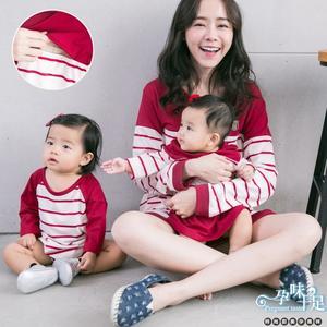 經典亮眼條紋親子裝孕婦哺乳【橫拉式 】上衣 兩色【CPC7545 】孕味十足 孕婦裝