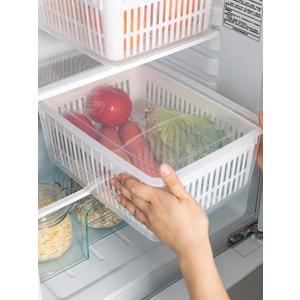 收納盒 冰箱收納盒大容量神器保鮮盒長方形塑料食品盒帶瀝水籃廚房收納盒