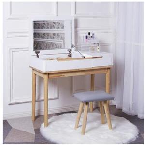 網紅梳妝台臥室小戶經濟型化妝台現代簡約ins風化妝桌帶燈北歐式【橡木翻蓋90cm+小皮凳】