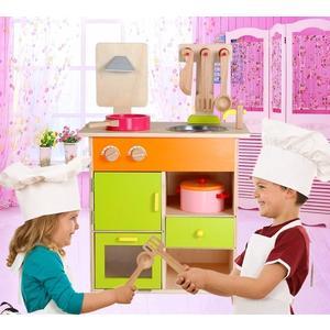 *幼之圓*最新款~實木製~高仿真豪華彩色廚房組~品質超優~仿真家家酒玩具~