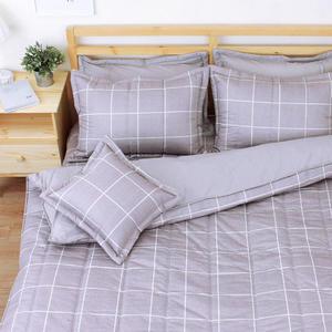和日方常 單人鋪棉床罩組(3.5x6.2呎)五件式(100%純棉)灰棕色[艾莉絲-貝倫] MIT台灣製T5H-KF-2707-CH-S