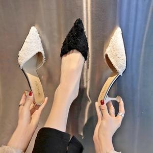 半拖鞋 包頭半拖鞋女夏季時尚百搭外穿細跟高跟鞋無後跟涼拖 【韓國時尚週】