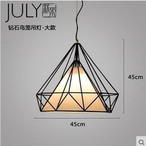 美術燈 北歐現代餐廳吊燈簡約工業風創意鳥籠loft藝術鑽石鐵藝吧台燈(大號)-不含光源