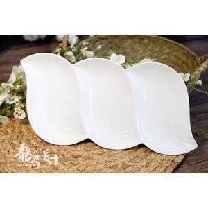 三格扁豆陶瓷水彩調色盤國畫調色盤純白色 伊衫風尚