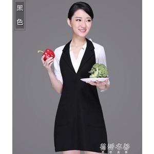 圍裙 簡約餐廳廚房圍裙韓版時尚布藝公主歐式工作服圍裙訂製 蓓娜衣都