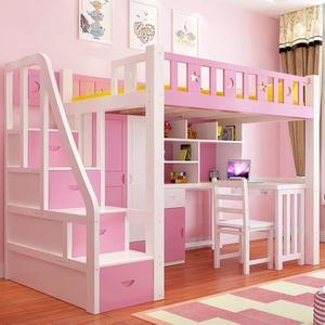 高低床帶書桌床簡約現代成人床高架床多功能組合床兒童床上床下桌