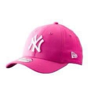 4cd5eb8c26e57 KUMO SHOES-NEW YORK YANKEES 可調式老帽桃紅色白字