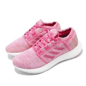 adidas 慢跑鞋 PureBOOST GO J 粉紅 白 編織鞋面 街頭路跑 女鞋 大童鞋 運動鞋【PUMP306】 F34010